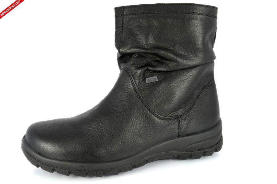 ddd7a989 Typ: BOTKI damskie RiekerTEX. Kolor: czarne - schwarz. Materiał wierzchni:  skóra lico. Wnętrze buta: owcze futro. Tęgość: H Rozmiar: 37, 42